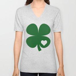 Clover Heart Irish Green St. Patrick's Day Shamrock Unisex V-Neck