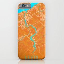 Levis, QC, Canada, Gold, Blue, City, Map iPhone Case