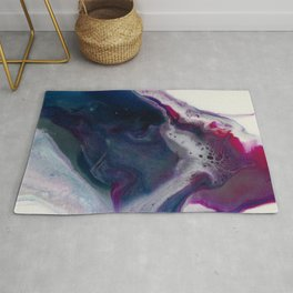In Bloom - Abstract floral white pink and blue Resin art Rug
