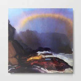 Early Morning Coastal Fog & Rainbow landscape painting by George Wesley Bellows Metal Print