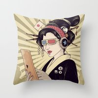 geisha Throw Pillows featuring Geisha by Azrhon