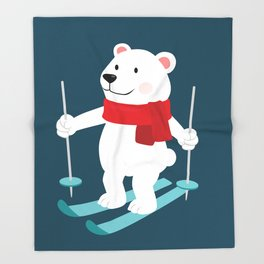 Lets Go Skiing with Mr Polar Bear this Merry Christmas Throw Blanket