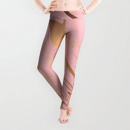 Liquid marble texture design, pink and gold Leggings