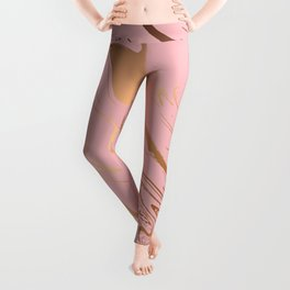 Liquid marble texture design, pink and gold Leggings