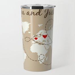 Personalized World Map Love Story Travel Mug