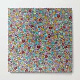 Playful Watercolor dots pattern - silver Metal Print