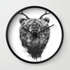 Angry bear with antlers Wall Clock