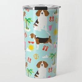 Beagles beagle pattern beach classic socal dog breed pattern palm trees tropical Travel Mug