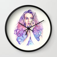 cara delevingne Wall Clocks featuring Cara Delevingne by Binkfloyd