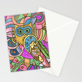 Colorful Pastel Owl Collage Stationery Cards