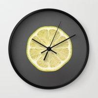lime Wall Clocks featuring lime by jon hamblin