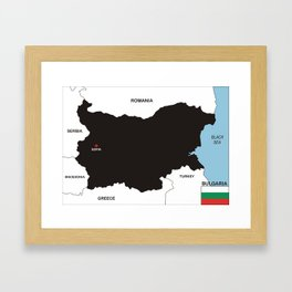 political map of bulgaria country with flag Framed Art Print