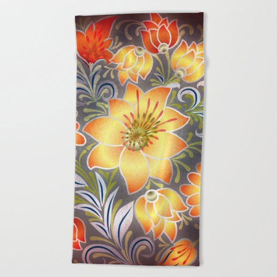 Shabby flowers #3 Beach Towel