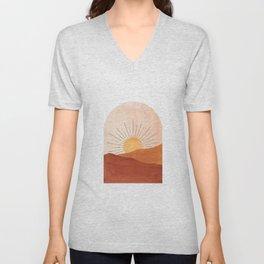 Abstract terracotta landscape, sun and desert Unisex V-Neck