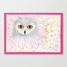 Pink Snowy Owl Canvas Print