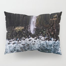 Aerial of Basalt waterfall flowing into the Atlantic ocean on the Isle of Skye - Landscape Photo Pillow Sham