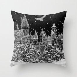 Holiday at Hogwart Throw Pillow