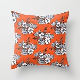 Orangey Gray Floral Throw Pillow