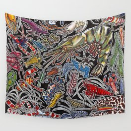 Prawns, gambas and shrimps for ocean lovers, marine biologists and scuba divers Wall Tapestry