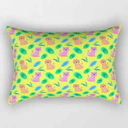 Cute happy little baby pink tigers tropical rainforest exotic green blue leaves yellow pattern Rectangular Pillow