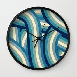 Vintage Faded 70's Style Blue Rainbow Stripes Wall Clock