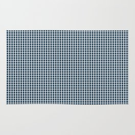 Midnight Blue Gingham Check Rug