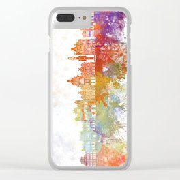 Salvador de Bahia V2 skyline in watercolor background Clear iPhone Case