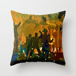 From Slavery thru Reconstruction - 135th Street Public Mural NY Public Library by Aaron Douglas Throw Pillow
