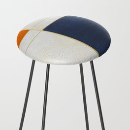 Orange, Blue And White With Golden Lines Abstract Painting Counter Stool