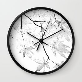 black and white maple leaves Wall Clock
