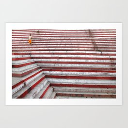On the steps, Varanasi, India Art Print
