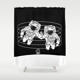 Astronaut black and white Gemini Shower Curtain