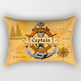 Captain Anchor And Ship Helm Rectangular Pillow