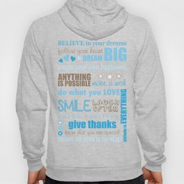 Quote Collage In Blue Hoody