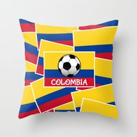 colombia Throw Pillows featuring Colombia Football by mailboxdisco
