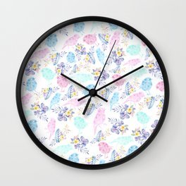 Pink teal lavender hand painted watercolor bird floral Wall Clock