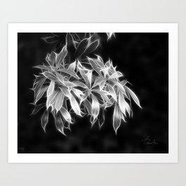 silver glowing leaves Art Print