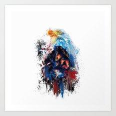 Drippy Jazzy Bald Eagle Colorful Bird Art by Jai Johnson Art Print