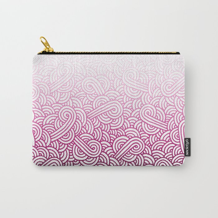 Gradient pink and white swirls doodles Carry-All Pouch