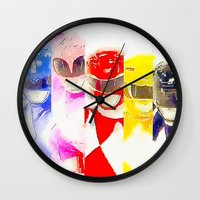power rangers Wall Clocks featuring Power Rangers by americanmikey