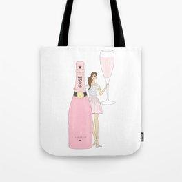 Rose Champagne Fashion Girl Brown Hair Tote Bag