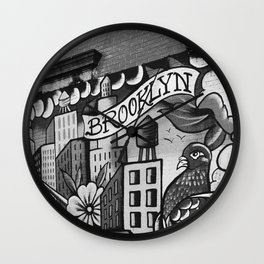 Black and White, Williamsburg Brooklyn Wall Art Wall Clock