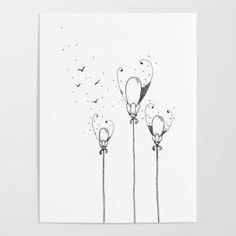 Balloon Flowers Illustration Poster