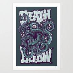 skull octopus illustration Art Print