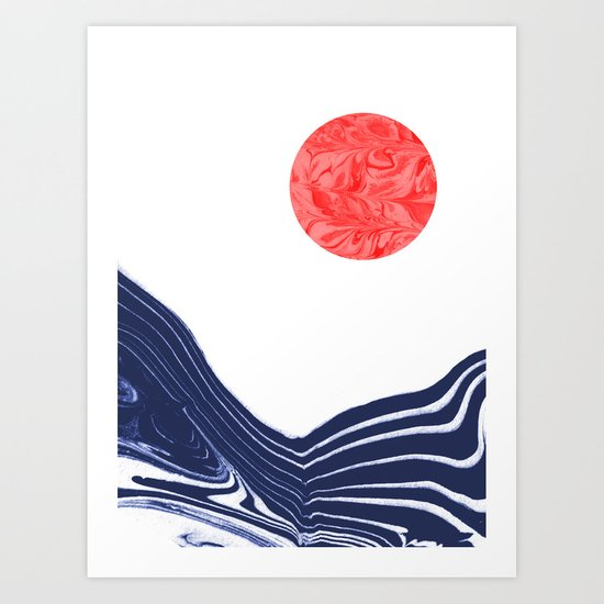 Furoshi Spilled Ink Marble Water Wave Painting Sun Sea