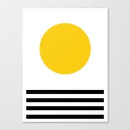 Midcentury Yellow Minimalist Sunset With Black Stripes Canvas Print