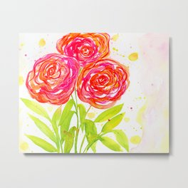 Painterly Peony - Watercolor Floral Print Metal Print