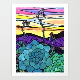 Succulent Sunset Art Print