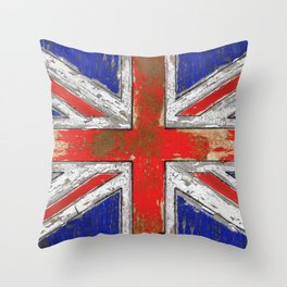 UK Vintage Wood Throw Pillow