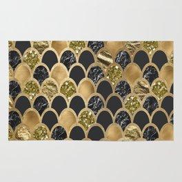 Ebony ink - golden mermaid scales Rug